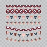 Un insieme degli elementi di progettazione per la festa dell'indipendenza quarto degli oggetti di luglio, elemento Illustrazione  Immagini Stock