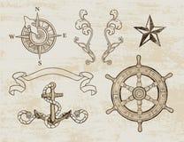 Insieme nautico di disegno Immagini Stock Libere da Diritti