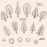 Un insieme degli elemento-alberi di vettore Fotografia Stock Libera da Diritti
