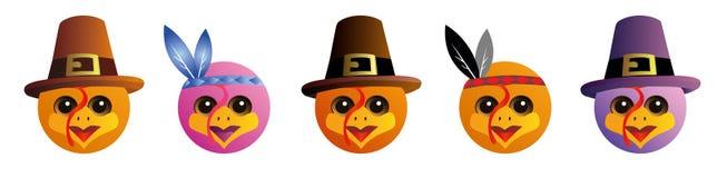 Un insieme degli emoticon grafici - tacchino Raccolta di Emoji Icone di sorriso Giorno di ringraziamento illustrazione vettoriale