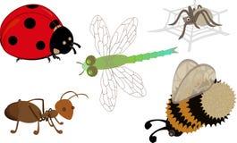 Un insieme degli insetti del fumetto Fotografie Stock Libere da Diritti