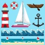 Un insieme degli oggetti del pixel e degli elementi senza cuciture royalty illustrazione gratis