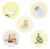 Un insieme degli oggetti della cucina Fotografia Stock Libera da Diritti