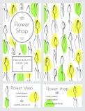 Un insieme degli opuscoli e dei biglietti da visita per un negozio di fiore illustrazione di stock