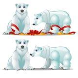 Un insieme degli orsi polari animati e di un arco rosso festivo del nastro isolato su fondo bianco Campione del manifesto, festa  illustrazione di stock