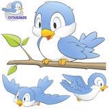 Un insieme degli uccelli svegli del fumetto Immagine Stock Libera da Diritti