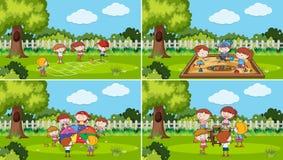 Un insieme dei bambini che giocano al parco illustrazione vettoriale