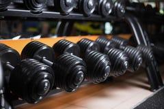 Un insieme dei bilancieri su un fondo della palestra Teste di legno pesanti del metallo nero sulle coperture Culturismo, concetto fotografie stock libere da diritti