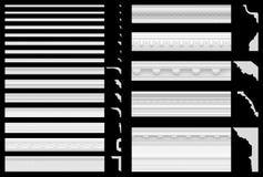 Un insieme dei cornicioni e dei fregi isolati su un fondo nero visualizzazione 3D dello stucco del gesso Struttura senza cuciture Fotografie Stock Libere da Diritti