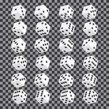 Un insieme dei dadi isometrici Dadi ventiquattro di perdita di varianti su fondo trasparente Immagini Stock