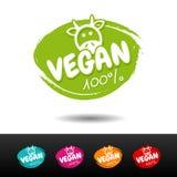 Un insieme dei distintivi 100% del vegano Fotografia Stock