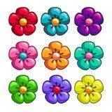 Un insieme dei fiori colorati Fotografia Stock Libera da Diritti