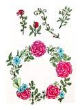 Un insieme dei fiori, dei ramoscelli e delle foglie Una corona dei fiori variopinti di estate su un fondo bianco isolato Decorazi illustrazione vettoriale