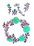 Un insieme dei fiori, dei ramoscelli e delle foglie Una corona dei fiori variopinti di estate su un fondo bianco isolato Decorazi royalty illustrazione gratis