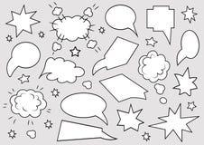 Un insieme dei fumetti Metta del modello in bianco nello stile di Pop art su fondo grigio Illustrazione di vettore illustrazione di stock