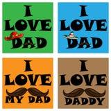 Un insieme dei manifesti i ama il mio papà Amo il mio papà Fotografia Stock