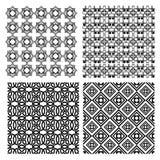 Un insieme dei modelli geometrici semplici in bianco e nero di monoline nello stile di art deco Fotografie Stock