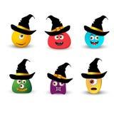 Un insieme dei mostri nell'illustrazione EPS10 di vettore di Halloween del cappello illustrazione di stock