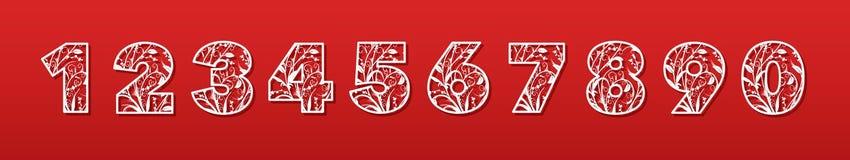 Un insieme dei numeri per il taglio del laser della carta, cartone, plastica Alfabeto decorativo alla moda Taglio di contorno illustrazione di stock