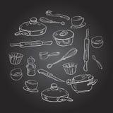 Un insieme dei piatti nello stile dello schizzo Fotografia Stock Libera da Diritti