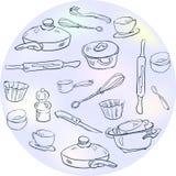 Un insieme dei piatti nello stile dello schizzo Immagine Stock