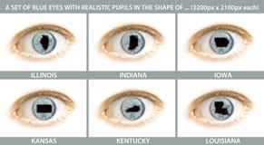 Un insieme dei primi piani di un occhio con la pupilla sotto forma di Fotografia Stock Libera da Diritti