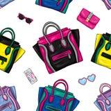 Un insieme dei sacchetti della spesa colorati multi Vector l'illustrazione per una cartolina o un manifesto, stampa per i vestiti Immagine Stock