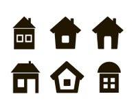 Un insieme dei sei nero della casa delle icone Immagine Stock Libera da Diritti