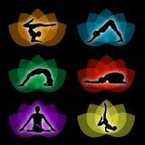Un insieme dei simboli di meditazione e di yoga Fotografia Stock
