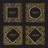 Un insieme dei telai lussuosi dell'oro Retro strutture decorative, autoadesivi Fotografia Stock Libera da Diritti