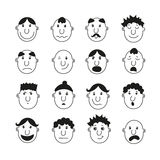 Un insieme dei visi umani con le emozioni Immagine Stock