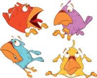 Un insieme del fumetto degli uccellini Fotografia Stock Libera da Diritti