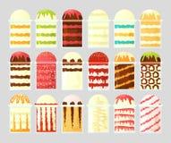 Un insieme del gelato in tazze trasparenti con differenti materiali da otturazione Alimento della via Fotografie Stock Libere da Diritti