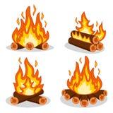 Un insieme del legno del fuoco su un bianco royalty illustrazione gratis