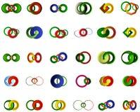 Un insieme del logos, delle icone e degli elementi grafici Fotografie Stock