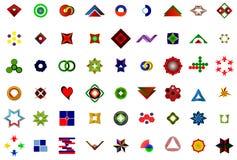 Un insieme del logos, delle icone e degli elementi grafici Immagini Stock