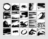 Un insieme del modello nero del quadrato di lerciume di 20 spazzole dell'inchiostro, disegno della mano royalty illustrazione gratis