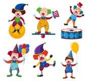 Un insieme del pagliaccio Circus Character illustrazione vettoriale