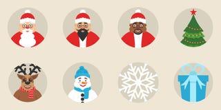 Un insieme del ` s del nuovo anno o delle icone di Natale Progettazione piana Vettore I caratteri svegli Gli elementi tradizional Fotografie Stock