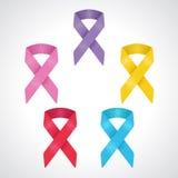 Un insieme del simbolo del nastro di 5 consapevolezze del giorno del Cancro del mondo, cancro al seno, bambini cancro, carcinoma  illustrazione di stock