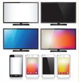 Un insieme del telefono cellulare otto e della TV realistici Immagini Stock Libere da Diritti