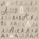 Un insieme dell'annata di 50 ha variato le lettere A del disegno della mano Fotografie Stock