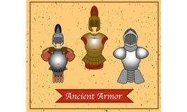Un insieme dell'armatura antica del guerriero. Fotografia Stock