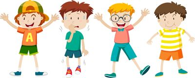 Un insieme dell'espressione dei bambini illustrazione di stock