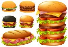 Un insieme dell'hamburger su fondo bianco illustrazione vettoriale