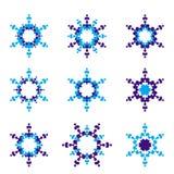 Un insieme dell'icona della stella di esagono di 9 blu Immagine Stock