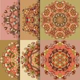 Un insieme dell'ornamento organico del pizzo di 6 cerchi Fotografia Stock Libera da Diritti