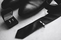 Un insieme dell'uomo di affari, gli attributi dello sposo Fotografia Stock