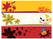 Un insieme della bandiera di tre Halloween Fotografia Stock