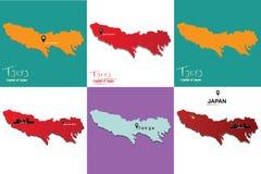 Un insieme della capitale diillustrazione-Tokyo di 6 mappe del Giappone - - siete qui segno Immagini Stock